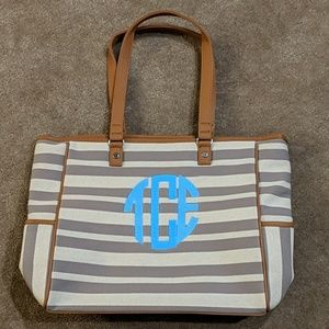 Thirty-One Cindy Tote -- Double Stripe w/Initials